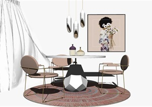现代北欧风轻奢餐厅餐桌椅