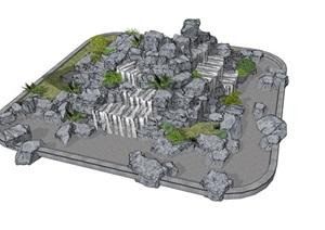 现代超精致假山石头造型盆景SU(草图大师)模型