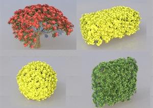 SU(草图大师)代理植物、绿篱、红叶石楠桩