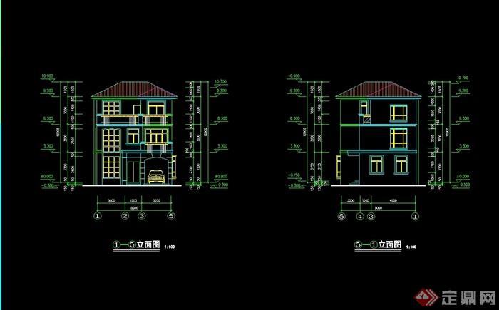 详细的完整住宅三层别墅设计cad施工图