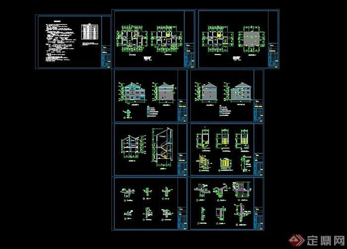 详细的欧式三层住宅别墅设计cad施工图