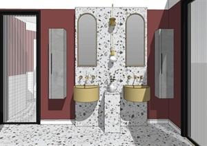 现代轻奢卫生间黄铜洗脸盆柜