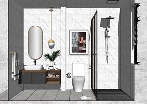 现代轻奢卫生间室内设计SU(草图大师)模型