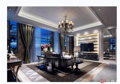 详细的完整客厅装饰设计3d模型及效果图