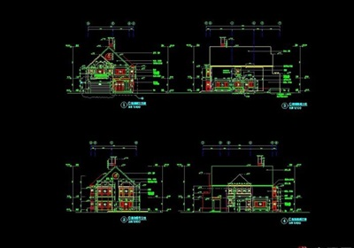欧式风格两层住宅别墅设计cad施工图
