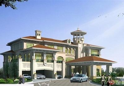 详细的欧式两层住宅别墅设计cad方案图