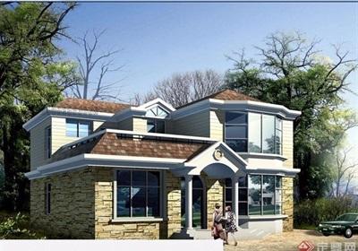 欧式详细的住宅两层别墅设计cad方案及效果图