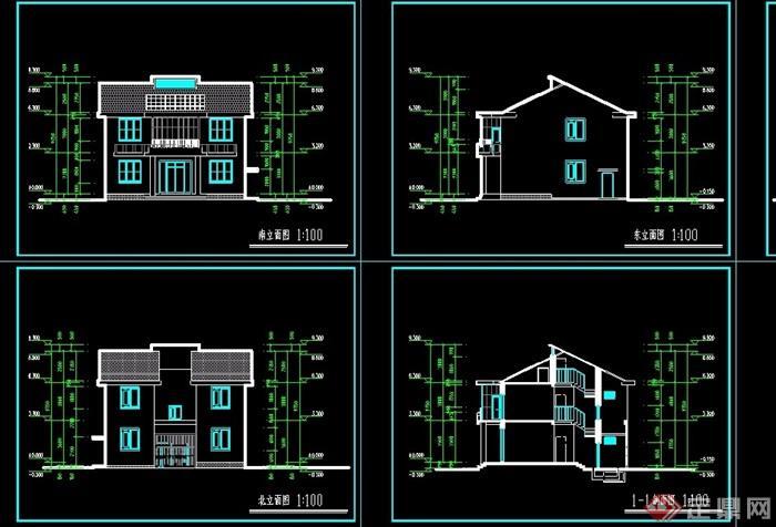 中式别墅两层住宅别墅v别墅cad方案回热不水管地暖风格图片