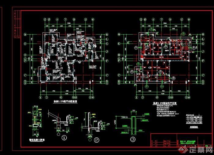 欧式风格两层住宅别墅设计cad结构图及效果图