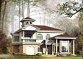 欧式风格住宅两层别墅设计cad方案及效果图