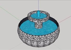 圆形水池水钵景观设计SU(草图大师)模型