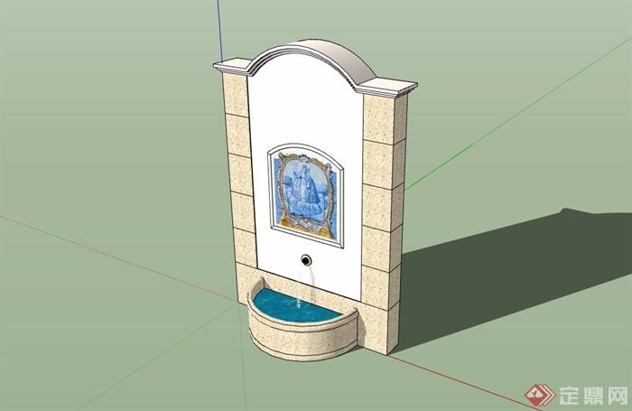 欧式风格喷泉水池景墙素材设计su模型图片