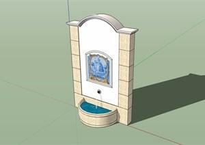 欧式风格喷泉水池景墙素材设计SU(草图大师)模型