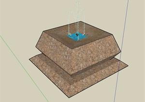 噴泉水池小品雕塑素材設計SU(草圖大師)模型