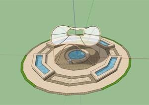 廣場水池景觀及小品素材設計SU(草圖大師)模型