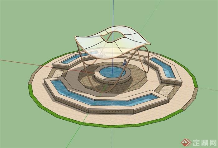 广场水池景观及小品素材设计su模型