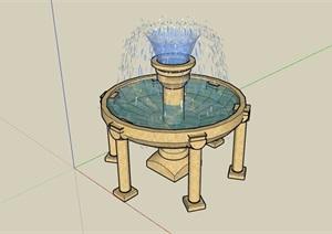 歐式風格噴泉水缽水景素材設計SU(草圖大師)模型