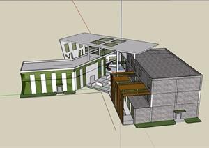某现代风格展示中心简单建筑设计SU(草图大师)模型