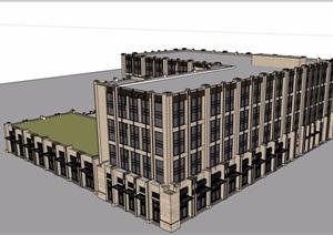 新古典风格详细的酒店设计SU(草图大师)模型