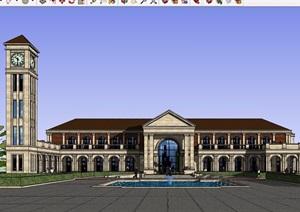 欧式风格详细的整体完整酒店建筑设计SU(草图大师)模型