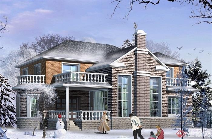 欧式风格详细的住宅两层别墅设计cad施工及效果图