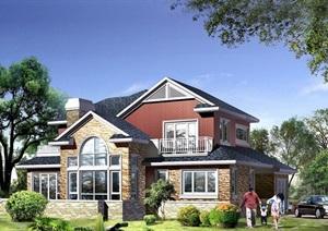 详细的欧式风格两层住宅别墅设计cad方案