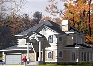 欧式简单两层住宅别墅设计cad方案