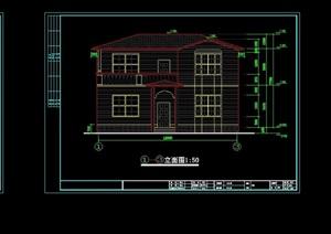 欧式两层别墅简单建筑设计cad方案