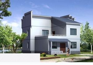 中式两层简单别墅建筑设计cad方案及效果图