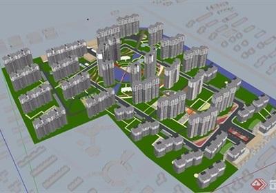 現代住宅小區樓高層建筑su模型