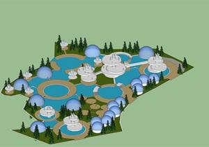 滨海生态主题乐园概念设计SU(草图大师)模型