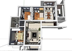 120平米三房两厅室内装修su(SU(草图大师))精品模型