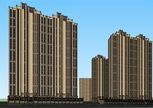 新古典高层住宅小区建筑设计和沿街商业su(SU(草图大师))精品模型