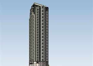 artdeco超高层住宅建筑设计su(SU(草图大师))精品模型