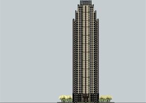 45层西方新古典超高层住宅建筑设计su(SU(草图大师))精品模型