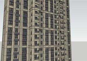 33层现代风格超高层住宅建筑设计su(SU(草图大师))精品模型