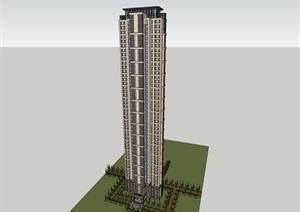 49层现代风格超高层住宅建筑设计su(SU(草图大师))精品模型
