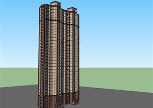 35层西方新古典超高层住宅建筑设计su(SU(草图大师))精品模型