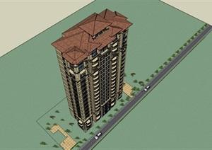 西班牙风格高层住宅(带户型)建筑立面设计su(SU(草图大师))精品模型