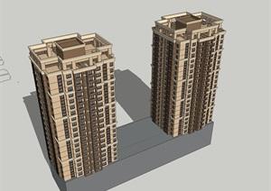 24層西方新古典高層商住樓建筑設計su(SU(草圖大師))精品模型