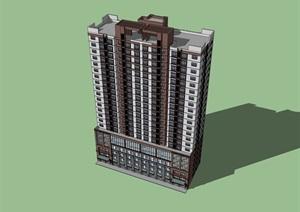 22層現代風格高層商住樓建筑設計su(SU(草圖大師))精品模型