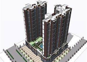30层现代风格高层商住楼建筑立面设计和沿街商业设计su(SU(草图大师))精品模型