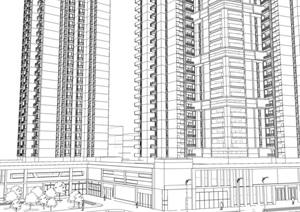 31层现代风格高层商住楼建筑立面设计和商业建筑设计su(SU(草图大师))精品模型