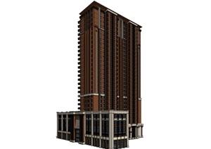 28层新古典高层商住楼建筑立面设计su(SU(草图大师))精品模型