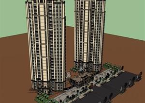 27层西方新古典风格高层居住小区和入口建筑设计su(SU(草图大师))精品模型