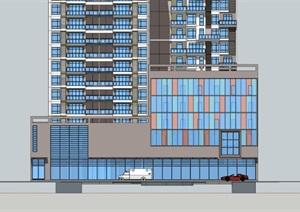 22层现代风格高层商住公寓建筑设计su(SU(草图大师))精品模型