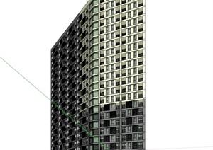 22层现代风格高层商住建筑设计su(SU(草图大师))模型