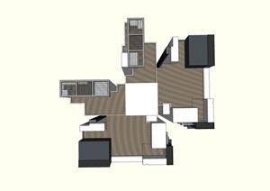 33层现代中式风格高层蝶形户型住宅建筑设计su(SU(草图大师))模型