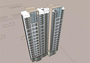 33层现代风格高层住宅建筑设计su(SU(草图大师))模型