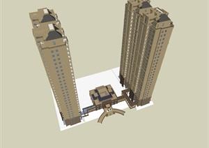 26层古典风格高层住宅建筑设计和入口大门设计su(SU(草图大师))精品模型